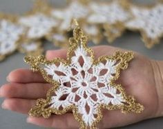 Items similar to crochet snowflakes white gold decor christmas tree ornament christmas decoration hand crochet gold border winter wedding decor white gold on etsy - Crocheted Snowflakes White Gold Christmas Tree Decor - Knit Christmas Ornaments, Crochet Ornaments, Christmas Knitting, Gold Christmas, How To Make Ornaments, Crochet Crafts, Handmade Christmas, Hand Crochet, Diy Crochet