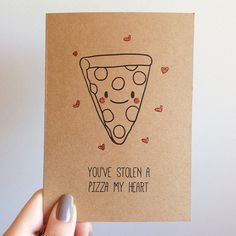 Pizza Pun Cute Love Valentines Card by SubstellarStudio on Etsy, $4.00