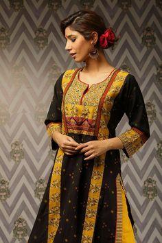 Bandhej kurta in cotton with a big yoke, teamed up with ajrak printed churidar and dupatta. Churidar, Day Dresses, Sari, Green, Cotton, Collection, Black, Fashion, Saree