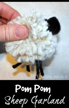 Pom Pom Sheep Garland | Are you looking for cute decor for Easter or a baby shower?  Or maybe just just a super cute craft for you or your kids to make?  This sheep is easy, fun & makes a cute decoration wherever you hang it. Click the pin to get the how-to!