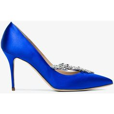 Manolo Blahnik 90 Nadira Jewel Buckled Pumps (8.310 HRK) ❤ liked on Polyvore featuring shoes, pumps, pointed toe high heel pumps, blue shoes, blue high heel pumps, blue stilettos and blue pumps