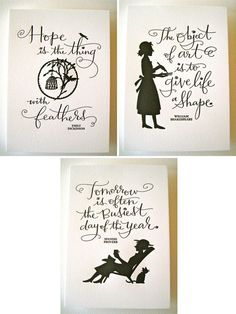 Letterpressed on Crane Lettra, delightful cards incorporating proverbs by the likes of Emily Dickinson, William Shakespeare and Oscar Wilde. (via @papercrave)