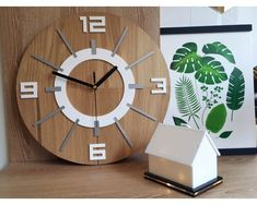 large white-gray clock with a quiet mechanism Alladyn wood Grey Clocks, Wooden Clock, Grey Stone, Large White, Interior Inspiration, Natural Wood, Modern, Etsy, Color