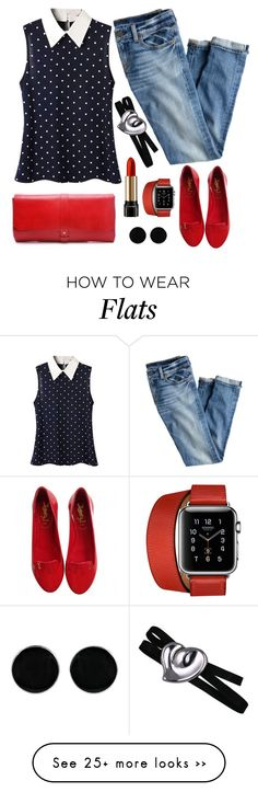 """""""Untitled #6027"""" by ana-angela on Polyvore featuring Yves Saint Laurent, J.Crew, AeraVida, Hermès, Lancôme and Elsa Peretti Red Flats Outfit, Spring Fashion, Autumn Fashion, Boyfriend Jeans Style, Cool Outfits, Fashion Outfits, Elsa Peretti, Spring Style, Mix Match"""