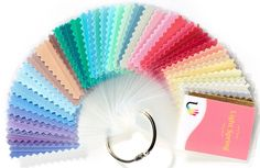 45 beautiful laminated fabric colour swatches for Light Spring Large 5.5 cm x 4 cm swatch size allows for easy colour matching Each colour is named and numbere