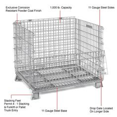 2cff4d5a5b7 This one piece heavy-duty container features wire mesh arc-welded to a  channel formed steel base