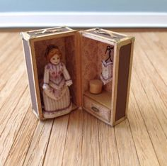 "Dollhouse Miniature Doll In Trunk Artist Renee Delaney 1/12"" Scale 