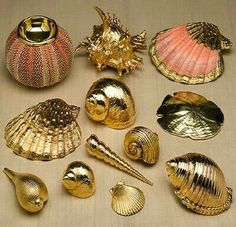 gold dipped seashells I will take one of eacgold dipped seashells gold painted gold accents would make a cute charmGold -dipped shells - [ ] Sand 'N Sea Properties LLC, Galveston, TXSpray paint them and hang them as sun catchers hanging from yarn Seashell Painting, Seashell Art, Seashell Crafts, Beach Crafts, Seashell Ornaments, Seashell Projects, Diy Projects, Painted Shells, Creation Deco