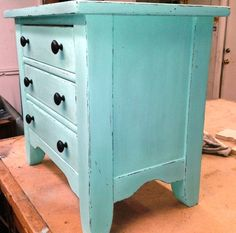 Nightstand Vintage Hand Painted Light Aqua Blue by JUNQFUSION, $189.00 www.junqfusion.com