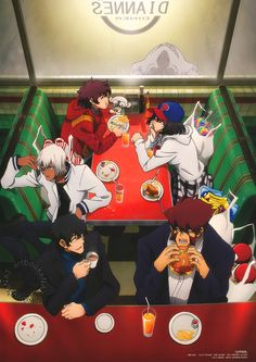 Kekkai Sensen (血界戦線)The scene continues from last month's Spoon 2Di Magazine (Amazon Japan | US), with the members of Libra stopping at Dianne's Diner for a quick bite to eat after shopping. Animation director and key animator Koichi Hayashi (林宏一) is once again the artist.