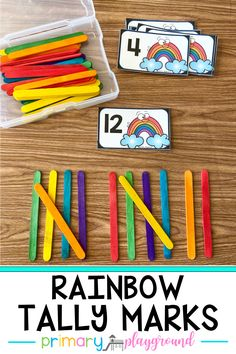 These rainbow tally marks are a great, hands-on way to practice counting by counting on and working on fine motor a bit as well! Rainbows always make me happy and are great to use all year long, Kindergarten Math Activities, Homeschool Math, Teaching Math, Homeschooling, Number Games For Kindergarten, Teaching Weather, Kindergarten Reading, Teaching Strategies, Curriculum