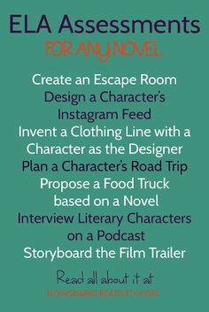 ELA Assessment: need a final project or activity for your next ELA class novel? Check out these 25 creative options, and get clear on how to make sure your students turn in creative work based on solid analysis, not fluff. Creative ways to assess students Ela Classroom, English Classroom, English Teachers, Future Classroom, Classroom Ideas, Middle School Ela, Middle School English, 8th Grade English, Ap English
