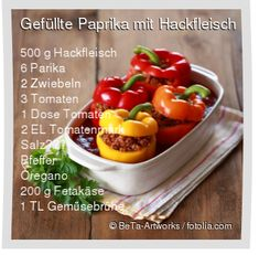 Leckeres Gefüllte Paprika mit Hackfleisch Rezept mit einfacher Schritt-für-Sch… Delicious stuffed peppers with minced meat recipe with simple step-by-step instructions: wash the peppers, cut out the end of the stem and … Stew Meat Recipes, Potluck Recipes, Raw Food Recipes, Healthy Recipes, Minced Meat Recipe, Salad Ingredients, Food Dishes, Clean Eating, Food Porn