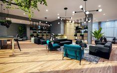 Le chalet urbain de style scandinave est situé sur le toit de l'édifice MYX condos Condominium, Conference Room, Condos, Living Room, Architecture, Interior, Table, Phase 4, Furniture