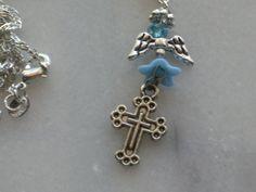 light blue handmade angel charm on silver chain necklace #Handmade