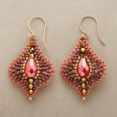 "Sabina Earrings - $178.00   $149.99 Sun-soaked color and glints of gold shine forth from handcrafted earrings combining 14kt gold-filled beads, Japanese Miyuki beads and faceted raspberry quartz. 14kt goldfill wires. Handcrafted in USA by Miguel Ases. 1-7/8""L."