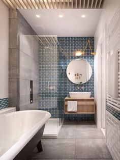 Vanity unit and shower in a 'tight space'. Like the way they've done the wall light over basin