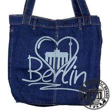 S21 BERLIN HEART HERZ Jeans Denim Shopping Bag Marionelli Tasche Stofftasche