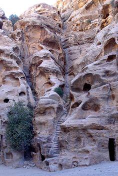 """Nabataean stairway in Beida (""""Little Petra""""), Jordan"""