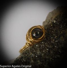 Wire Wrapped Brass Black Hemalyke Ring size 6 by superioragates, $8.00