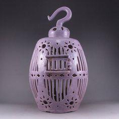 Hollow Out Carved Purple Glaze Porcelain Birdcage : Lot 266