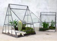 Large Glass Terrarium Triangular Scandinavian Pyramid Planter