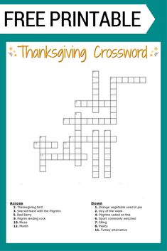 Thanksgiving Crossword Puzzle FREE Printable for Kids or Adults