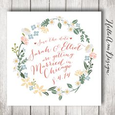 Save The Date, Pink Floral Save The Date Cards with Flowers, Garden Wedding, PInk and Green, yellow and pink, wedding wreath, spring wedding