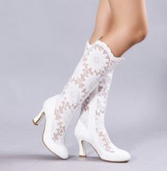 Handmade White lace flowers Pierced Wedding boots by Phoenixinfire