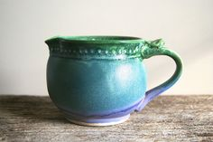 12 oz creamer Ceramic Pitcher Jug for Tea in lavender, blue, and green by Hope Fregerio RiverStone Pottery