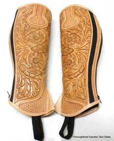 D-A-Brand-Fully-Tooled-Light-Oil-Leather-Half-Chaps-Size-Medium-Horse-Tack