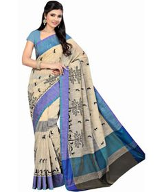 Buy Beige Cotton Saree With Blouse 71572 with blouse online at lowest price from vast collection of sarees at Indianclothstore.com.