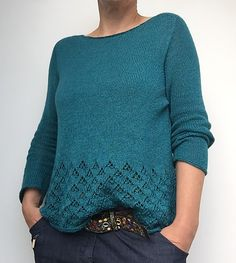 Ravelry: Amory pattern by Isabell Kraemer Sweater Knitting Patterns, Lace Knitting, Knitting Designs, Knit Crochet, Crochet Unique, Sweat Dress, Knitwear, Sweaters For Women, Couture