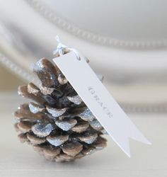 Pine cones are essential for a winter wedding - as decorations, place card holders, and wedding toppers! Pine cones EVERYWHERE! Noel Christmas, Christmas Wedding, All Things Christmas, White Christmas, Christmas Crafts, Xmas, Scandinavian Christmas, Snowflake Wedding, Snow Wedding
