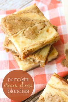 Pumpkin Spice Cream Cheese Blondies - a simple and delicious fall treat.