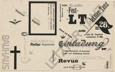 Last Dance, Invitation by Herbert Bayer. Harvard Art Museums/Busch-Reisinger Museum, © Artists Rights Society (ARS), New York / VG Bild-Kunst, Bonn Herbert Bayer, Heart Type, Alphabet City, Harvard Art Museum, Fluxus, Bauhaus Design, Last Dance, On Today, Vintage Ephemera