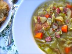 Leftover Corned Beef Cabbage Soup, an easy, light, delicious way to turn your St. Patrick's Day Dinner into soup 119 calories, 3 Weight Watchers SmartPoints | Simple-Nourished-Living.com