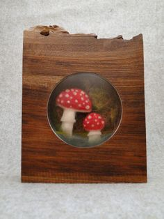 Miniature toadstool embroidery in handmade walnut frame. £69.50