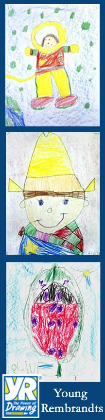 Preschool artwork from Young Rembrandts drawing classes.