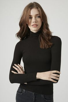 Topshop Petite Long Sleeve Ribbed Polo Neck Top