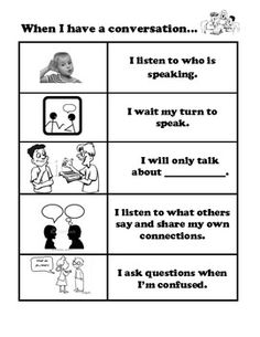 This is a checklist to remind your students how to have a productive conversation.  This black and white resource can easily be printed on colored ...