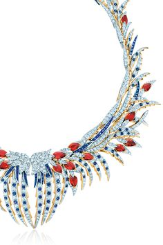 Tiffany & Co. Schlumberger® Plumes necklace with diamonds and colored gemstones. #TiffanyPinterest