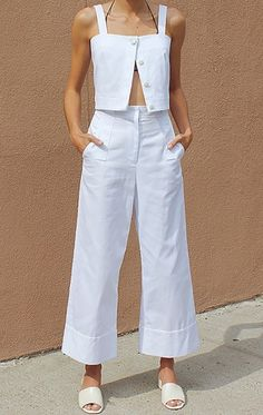 Maryam Nassir Zadeh White Outfit Casual, Beige Outfit, White Outfits, White  Culottes Outfit 5a351ad10dc5