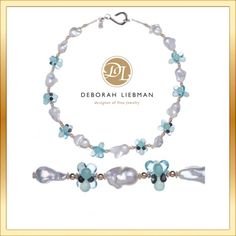 Baroque White Pearls, Blue Topaz, Aqua Chalcedony, 14K Gold and Sterling Silver by deborah-i on Polyvore