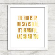8x10 INSTANT DOWNLOAD - The Sun Is Up - The Beatles Lyrics - Art Print - Home & Nursery Decor - Typography
