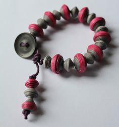 Paper Bead and Button Bracelet £12.00