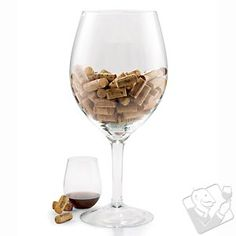 Oversized wine glass with corks - ideas for bartop