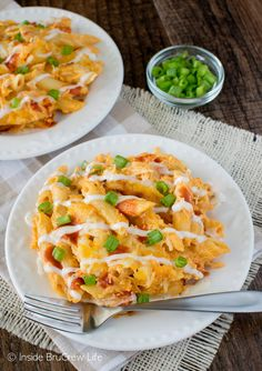 Buffalo chicken, cheese, & pasta in a casserole creates a meal that everyone will love. This Buffalo Chicken Pasta Bake is delicious & ready in 30 minutes.