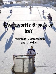 My favorite 6-pack on ice? 3 forwards, 2 defensemen, and 1 goalie! #hockey #hockeyhumor #sports #sportsquotes #sportshumor #humor #funny #6pack