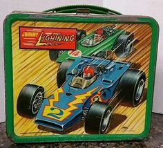 #Vintage #JohnnyLightning Lunchbox 1970 Metal Aladdin Topper Lunch Box Race Car